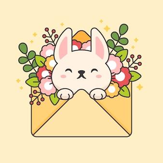 Carácter vectorial de lindo conejo en un sobre con flores y hojas.