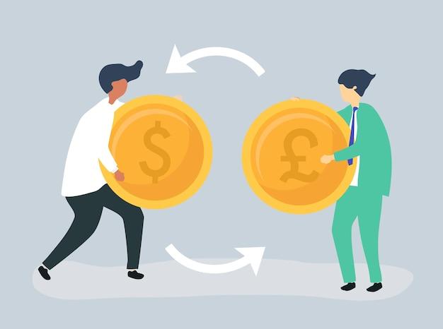 Caracteres de dos hombres de negocios que intercambian moneda