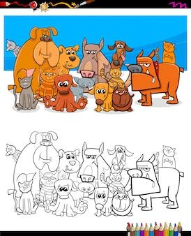 Caracteres de gatos y perros para colorear