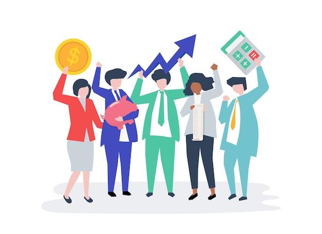 Caracteres de una gente de negocios e iconos de crecimiento del rendimiento.
