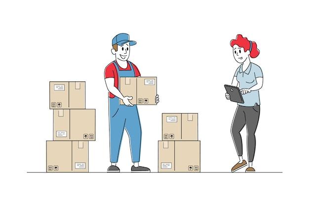 Caracteres del gerente de inventario que contabilizan los bienes en cajas de cartón en el estante en el almacén