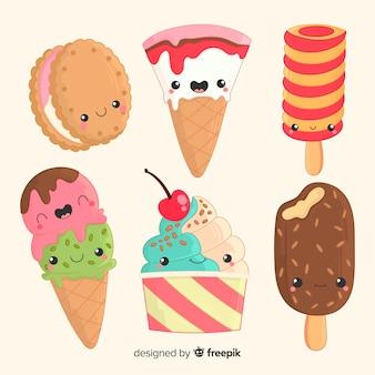 Caracteres kawaii de helado