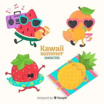 Caracteres kawaii de verano