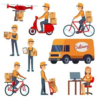 Caracteres lindos del mensajero de la historieta con la caja de la entrega. entrega en drone, scooter, bicicleta.