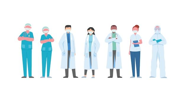 Los caracteres de los médicos y de las enfermeras en el fondo blanco, equipo médico aislaron la ilustración.