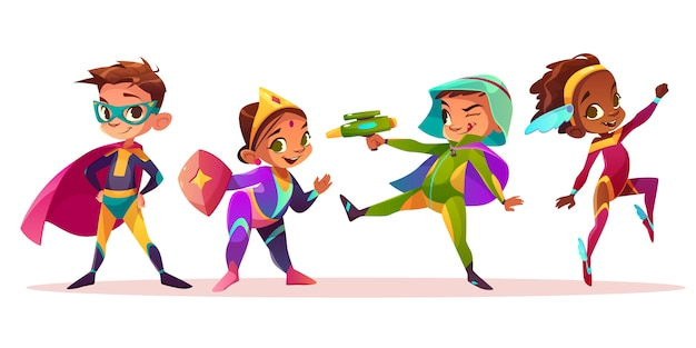 Caracteres multiétnicos felices de los niños que juegan y que se divierten en los super héroes o el ejemplo del vector de la historieta de los trajes del cuento de hadas aislado en el fondo blanco. fiesta de disfraces de niños y niñas en edad preescolar.
