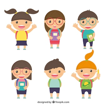 Caracteres de niños de colegio