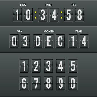Caracteres y números del aeropuerto en calendario y reloj con conjunto de números. ilustración para llegadas y cuenta regresiva.