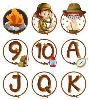 Caracteres y números en insignias redondas