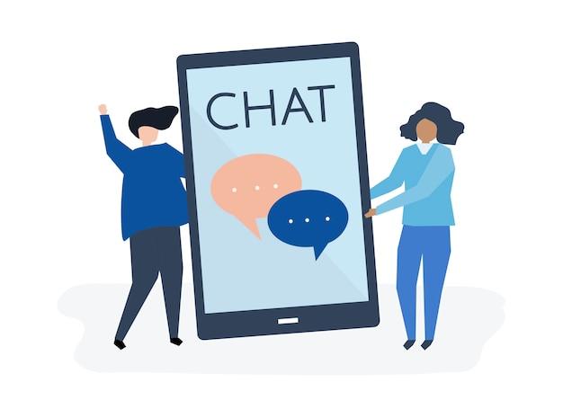 Caracteres de una pareja y la ilustración del concepto de mensajes de texto