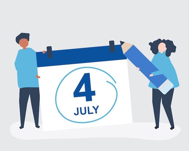 Caracteres de personas y ilustración de concepto del cuatro de julio