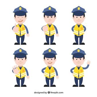 Caracteres policía de tráfico amarillo