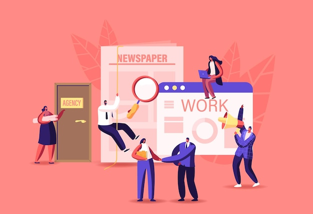 Caracteres que contratan trabajo en anuncios de periódicos y en línea. entrevista de trabajo en oficina con solicitantes, documentos de currículum