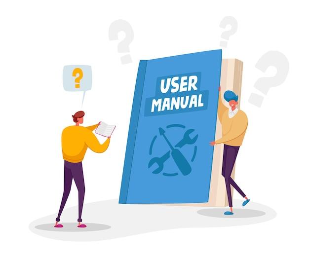 Caracteres que leen el manual del usuario, el libro guía o el concepto de instrucción técnica. pequeños personajes leen un enorme manual con orientación y tutorial para los usuarios