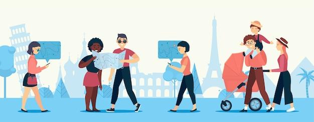 Caracteres vectoriales en el fondo de las atracciones. chica busca el camino en el navegador. la familia viaja por el mundo