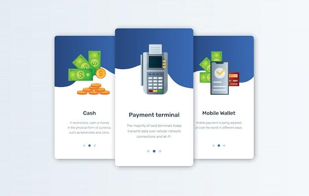 Características de efectivo, pago en terminal y billetera móvil presentadas en las pantallas de incorporación de una aplicación de servicios financieros. fintech y banca móvil en teléfonos inteligentes. presupuesto personal y aplicación de seguimiento de costos