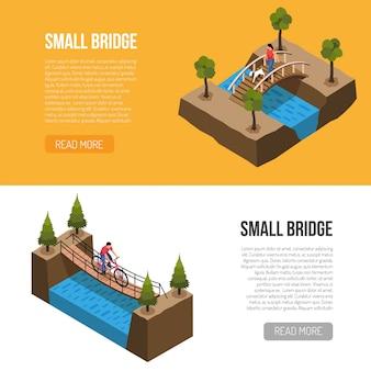 Características históricas de pequeños puentes, plantilla de pancartas horizontales isométricas con diferentes construcciones de madera ilustración vectorial