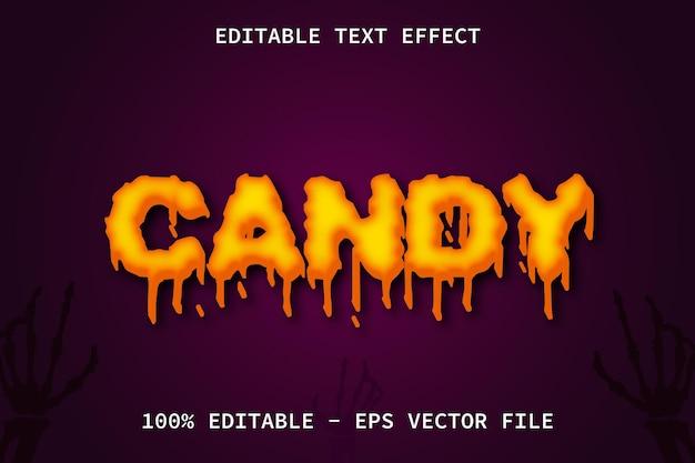 Caramelo con efecto de texto editable de estilo de relieve de dibujos animados