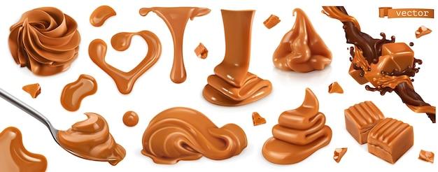 Caramelo, mantequilla de maní 3d set