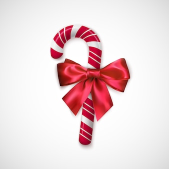 Caramelo de navidad a rayas rojas y blancas