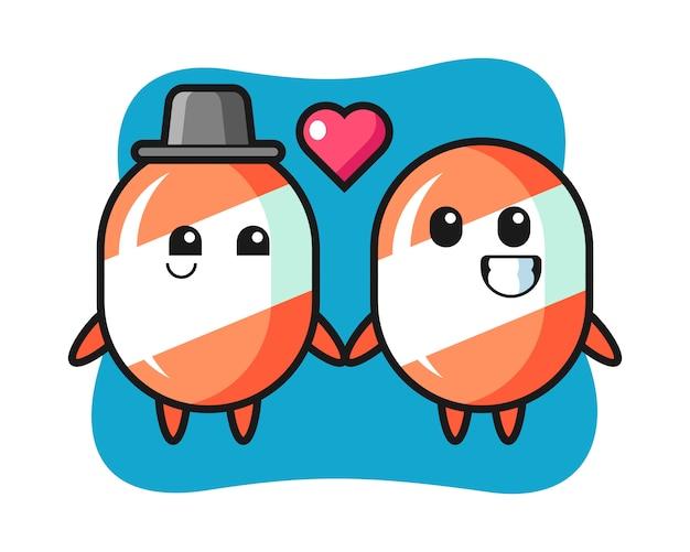 Caramelo personaje de dibujos animados pareja con gesto de enamorarse