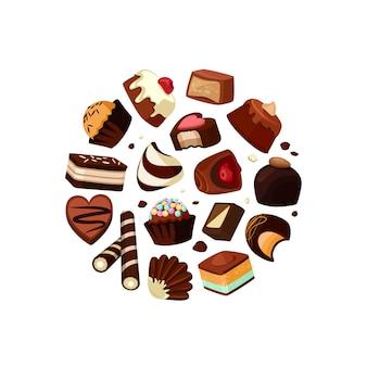 Caramelos de chocolate de dibujos animados se reunieron en círculo aislado en blanco