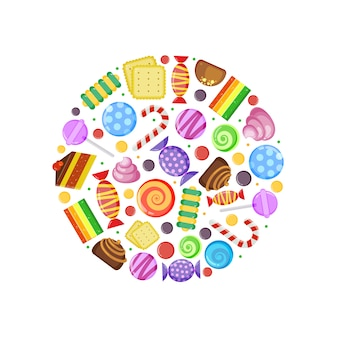 Caramelos de colores. tortas de caramelo de chocolate galletas de frutas y otros dulces variados en forma de círculo
