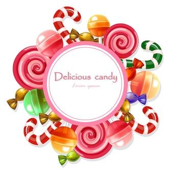 Caramelos deliciosos tarjeta redonda