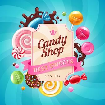 Caramelos y dulces de colores de fondo.