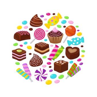 Caramelos de frutas coloridas e iconos planos de dulces de chocolate en diseño de círculo