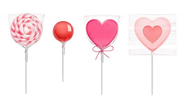 Caramelos de piruleta en forma de corazón para el día de san valentín