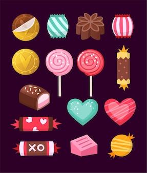 Caramelos vectoriales decorados con elementos del día de san valentín y adornos hechos en colores brillantes no tradicionales.