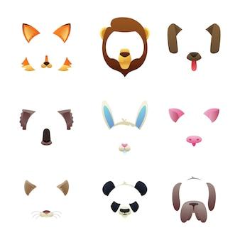Caras de animales para filtros de video o foto.