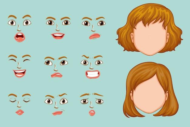 Caras de la mujer con diversas expresiones