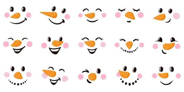 Caras de dibujos animados de muñeco de nieve caras divertidas con diversas emociones vector de emoticonos de muñeco de nieve de vacaciones de navidad