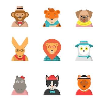 Caras divertidas de animales. hipster avatares de mono gato canguro hipopótamo tigre ropa linda personajes de zoológico en estilo plano