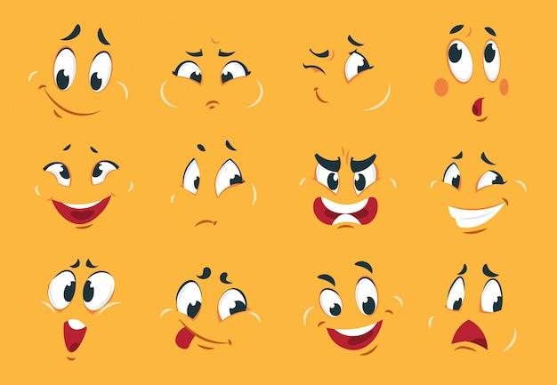 Caras de divertidos dibujos animados. expresiones de personajes enojados ojos doodle boca loca diversión boceto cómic raro. expresión de dibujos animados
