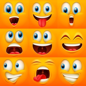 Caras emoji. expresiones de caras divertidas, emociones de caricatura. lindo personaje con diferentes ojos y boca expresivos, colección de emoticonos