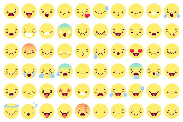 Caras emoji planas. conjunto de iconos.