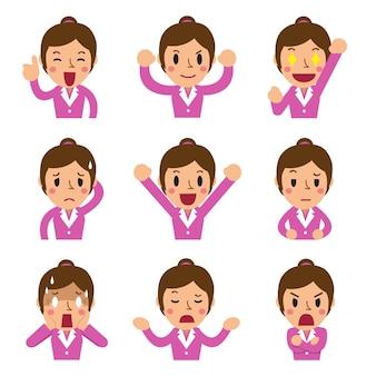 Caras de empresaria de dibujos animados mostrando diferentes emociones
