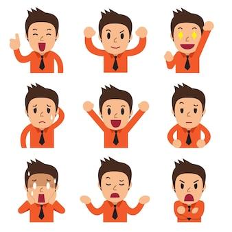 Caras de empresario de dibujos animados mostrando diferentes emociones