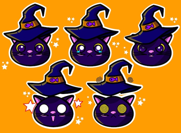 Caras de gato de halloween y reacciones en vector