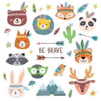 Caras graciosas de animales tribales. wild woodland zoo, animal lindo con tribales cara pintura conjunto de dibujos animados aislado