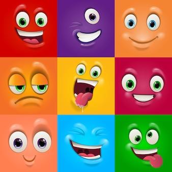 Caras máscaras con boca y ojos de emoticonos alienígenas