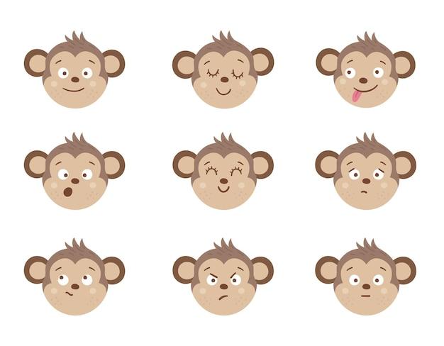 Caras de mono con diferentes emociones. conjunto de pegatinas de emoji de animales. cabezas con expresiones divertidas aisladas. colección de avatares lindos