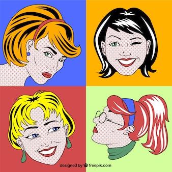 Caras de mujeres en estilo pop art