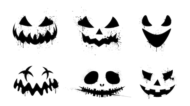 Caras negras aterradoras, divertidas y de terror de calabaza de halloween o fantasma.