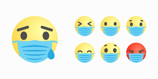 Caras o sonrisas en mascarilla quirúrgica con diferente expresión facial.