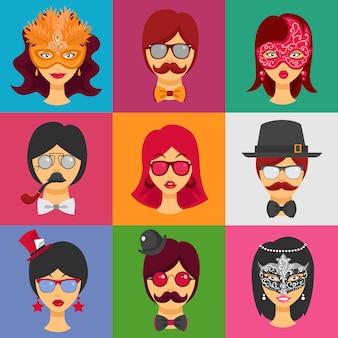 Caras de personas en máscaras de carnaval