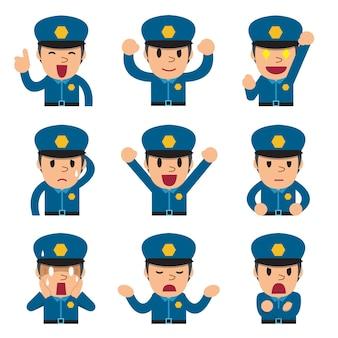 Caras de policía de dibujos animados mostrando diferentes emociones